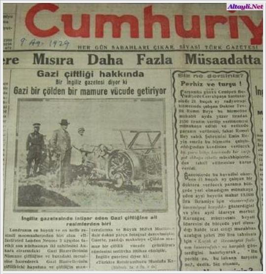 Atatürk'ün Ankara'da Gazi Orman Çiftliği, Silifke'de Tekir, Yalova'da Baltacı, Tarsus'ta Piloğlu, Dörtyol'da Karabasamak çiftlikleri ve Ankara'da Bira Fabrikası vardı. ile ilgili görsel sonucu
